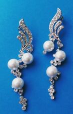 Statement Silver Tone White Pearl Austrian Crystal Swirl Chandelier Earrings