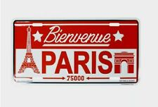 Bienvenue Paris Sign Tin Plate Plaque Wall Decor Eiffel Tower & Arc de Triomphe