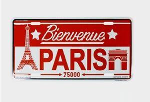 Bienvenue Paris Sign Tin Plate Plaque Wall Decor Eiffel Tower & Arc de Triomphe