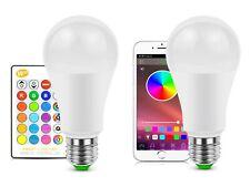 2X LAMPADINA LAMPADA LED TELECOMANDO 10W RGB W LUCE COLORI E27 DIMMERABILE