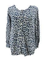 Gap Women's Blue White Animal Print Long Sleeve Button-Down Cardigan Size Large