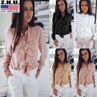 Women Summer Long Sleeve Ruffle Front Blouse Shirt Ladies Office OL Chiffon Tops