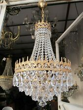 Antique Vnt French basket style Crystal Chandelier Lamp 1940's 14in Diameter----