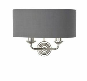 Highclere 2 Light wall Bight Nickel, Charcoal linen fabric & reflective inner