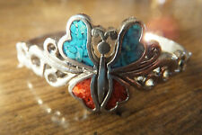 Silver-plate Turquoise & Coral Butterfly Cuff Bracelet