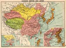 Chinese Empire and Japan 1898 Original Victorian Colour Map Bartholomew