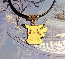 Pikachu Pokemon Pendant Charm Leather Cord Necklace*~Free Shipping