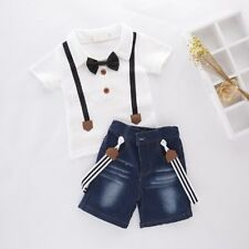 Baby Boy Wedding Tuxedo Birthday Party Top+Jeans Overall Outfit Suit Set Clothes