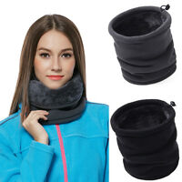 Mens Womens Fleece Neck Warmer Thermal Snood Scarf Hat Ski Wear Snowboarding w/