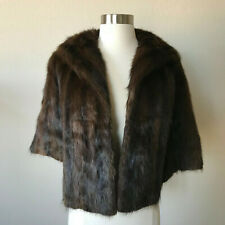 Mink Stole Cape Vintage Wrap Coat Rich Brown Real Fur Label Authority