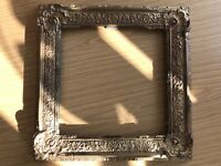 Old Antique Wooden Ornate Picture Frame, Wide, Gold, Shabby Chic Retro Vintage
