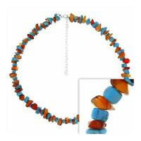Sterling Silver Carnelian & Turquoise Chip Necklace