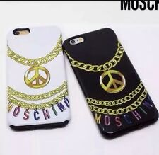 Moschino Logo iPhone 6 6S 6Plus 6sPlus Necklace Case/ Black White-New In Box