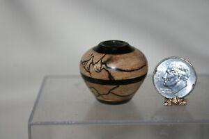 Miniature Dollhouse Brian Hart Spalted Maple & Black Wood Turning Vase 1:12 NR