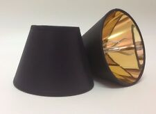 Small Clip On Candle Black Lampshade Gold Lining Ceiling Light Shade Handmade