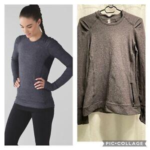 Lululemon Sz 8 Think Fast Long Sleeve Pullover Heathered Herringbone Black Rulu!