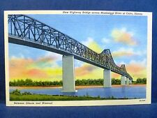 Postcard IL Cairo New Highway Bridge across Mississippi River Vintage Linen