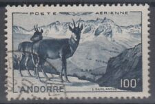 FRENCH ANDORRA 1950 AIR MAIL. LANDSCAPE WITH DEERS. USED. 75 €. SCARCE