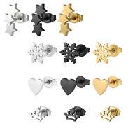 Unisex Heart Star Crown Geometry Stainless Steel Ear Stud Clip Earrings Jewelry