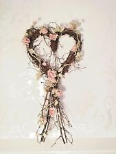 Rustic Twig Heart Wreath Wedding Venue Christmas Decoration Large 33 x 72 cm