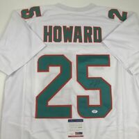 Autographed/Signed XAVIEN HOWARD Miami White Football Jersey PSA/DNA COA Auto