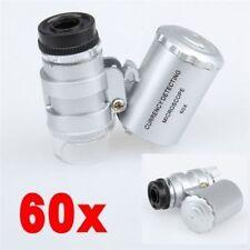 60x Led Mini Microscopio Joyeros Lupa Lupa Con Luz Y Estuche De Cuero