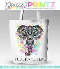 ELEPHANT INDIAN SHOPPING BAG TOTE GIFT CHRISTMAS MOTHERS DAY BIRTHDAY COLOURFUL