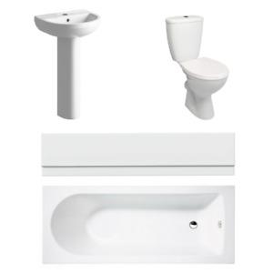 Complete Bathroom Suite Sink Toilet Bath Basin 1700mm Bathtub Bath Panel White