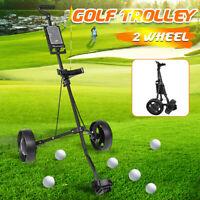 Foldable 2 Wheel Push Pull Golf Club Cart Trolley Lightweight Adjustable  H go