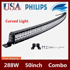 """Curved 50"""" 288W LED Work Light Bar Combo Driving Offroad Lamp Truck 4WD RZR Cars"""