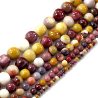 "Natural Gemstone Mookaite Smooth Loose Spacer Round Beads 15"" 4 6 8 10 12 14mm"