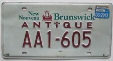 New Brunswick 2013 ANTIQUE AUTO License Plate # AA1-605