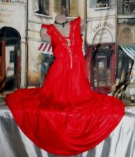 """Usa L Nightgown Lipstick Red Long Gown Open Back 128"""" Sweep"""