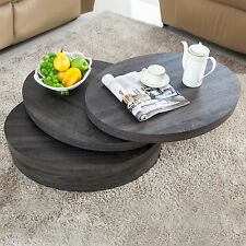 Modern Round Coffee Table Wood Rotating Gray Living Room with 3 Layers