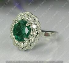 3 Ct Oval Cut Green Emerald & Diamond 14K White Gold Finish Halo Engagement Ring