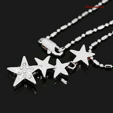 18k White Gold Plated Made with Swarovski Crystal Four Stars Necklace N127