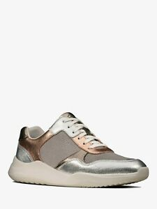 Clarks Sift Lace Ladies Rose Gold Leather Lace Up Trainers UK 5 D EUR 38