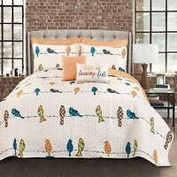 Quilt Set King Bedding Cover Pillow Shams Bird On Wire Floral Decorative Print