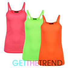 Womens Neon Colour Rib Vest Strap Vest Top Ladies Strappy Cami Running Gym Top