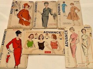 1960s Lot of 6 Advance Dress Mandarin Collar Blouse Coat Vintage Sewing Pattern