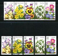 Garden Flowers USED Booklet Pane of 5 With Set of 5 Singles US #3025- #3029a