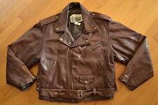 Vintage SCARFACE Cuir PARIS Dark Brown Leather Motorcycle Jacket Size XL