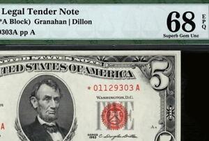 1963* $5 Red Seal Legal Tender STAR Note • Fr.1536* • PMG 68 EPQ