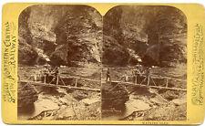 W.T. PURVIANCE PA  STEREOVIEW MATCHLESS SCENE BRIDGE MEN  WATKINS GLEN  N.C.R.R.