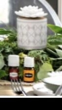 Young Living White/gray Succulent Diffuser New W/5ml Thieves & 5ml Citrus Fresh