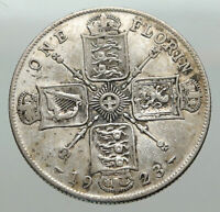 1923 United Kingdom Great Britain GEORGE V Silver Florin 2 Shillings Coin i85080