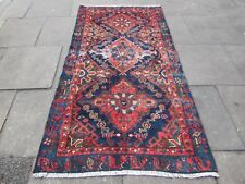 Shabby Chic Old Traditional Hand Made Persian Oriental Blue Wool Rug 212x120cm