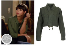 """TOPSHOP Khaki Olive Green Cropped Army Jacket Tag 10 but 40"""" Bust so fit 12 / 14"""