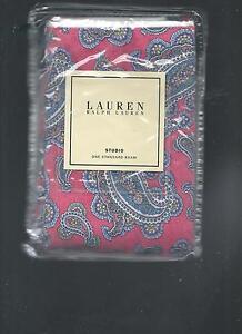 Ralph Lauren Studio Azalea Pink Blue White Paisley Standard Sham New 1st Quality