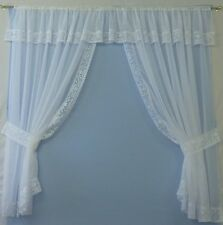 AMY -  VOILE NET PELMET SET WITH LACE TRIM - Made in UK - EXCLUSIVE DESIGN